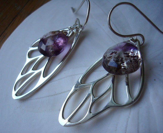 Moss Amethyst on Sterling Silver Wings