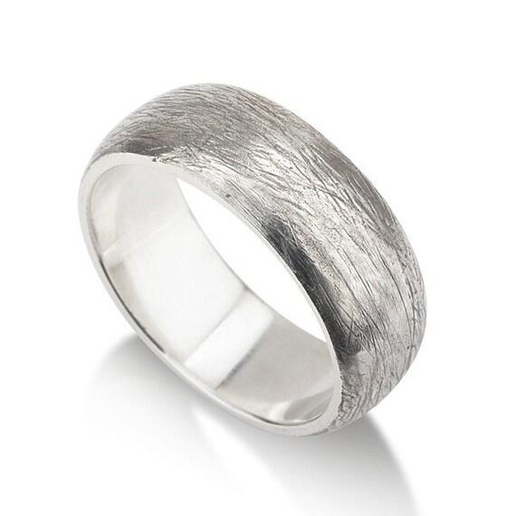wedding ring convex and scratched silver by michaldavidjewelry