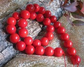 Chic A Grade Red Bamboo Coral 11MM Round beads- 34pcs/Strand