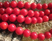 5 str- Red Coral 8MM Round, Red Coral Beads, A Grade Coral Beads