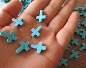 100pcs -Howlite in Blue Turquoise Cross beads 12x16mm