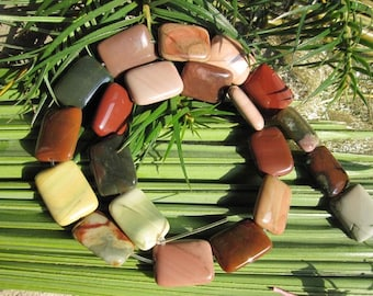 CLOSE OUT- As Pictured- Pink Mint Jasper Flat Rectangle beads 15x20x5mm -21pcs/Strand