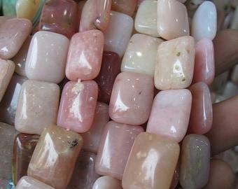 Pink Opal Flat Rectangle beads 12x16mm -25pcs/Strand