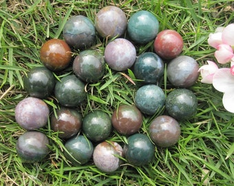 Green Indian Agate Big Round Beads 18mm- 22pcs/strand