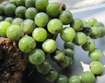 Geniune Natural Tea Green BC Jade 8mm Round beads- 50pcs/Strand