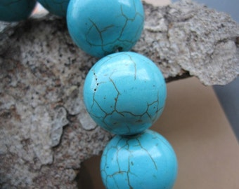 Howlite in Blue Turquoise Large 22mm Round Ball beads-- 19pcs Full Strand
