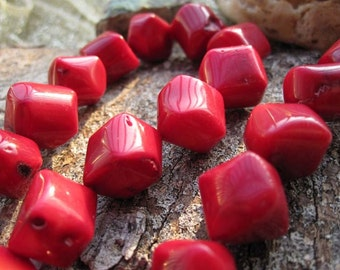 Red Coral Nugget D12.5x13mm Designer beads-- 27pcs/Strand