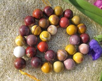 Yellow Red Mookaite Jasper 12mm Round Beads- 32pcs/Strand