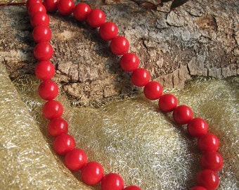 A Grade RARE Red Bamboo Coral 11MM Round Beads- 35pcs/strand,