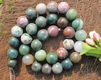 Natural Green Indian Agate 12mm round Beads- 32pcs/Strand
