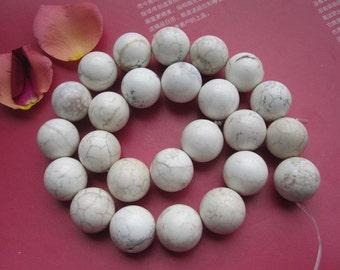 White Howlite 16mm Round Ball loose beads --25pcs Full Strand
