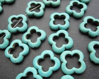 3 str -Blue Turquoise Howlite 20mm Flower Ring beads -21pcs/Strand