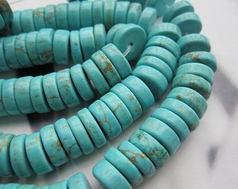 2 str- Blue turquoise Howlite 10x3mm Heishi beads-- 120pcs/Strand