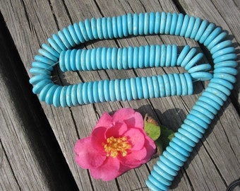 Howlite in Blue Turquoise Heishi Beads 14mm -130pcs/Strand