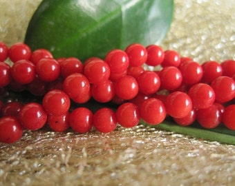 10 str -Red Bamboo Coral A grade Small 4mm Round Ball Beads -95pcs/Strand