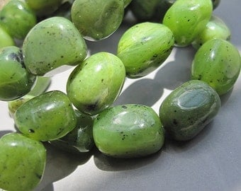 Green BC Jade 7x9mm Nugget Beads- 39pcs/Strand