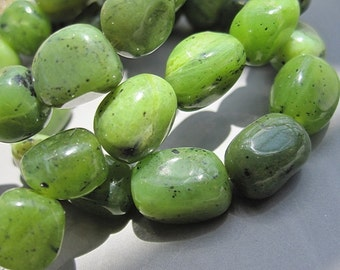 5 Str -Green BC Jade 7x9mm Nugget Beads- 39pcs/Strand