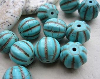 2 str -Blue Turquoise Howlite Round Pumpkin Beads D12x12mm -34pcs/Strand