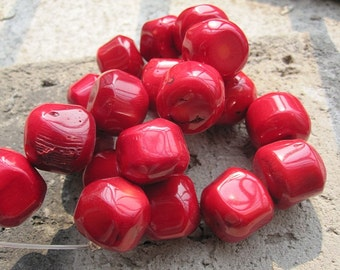 Large Red Coral Round Nugget beads 18mm -24pcs/Strand