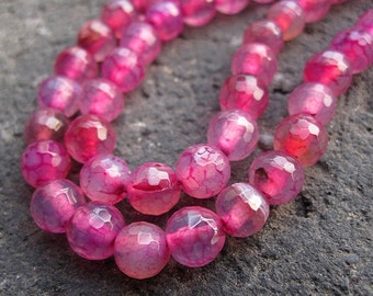 3 strands-- Agate 6mm Faceted Round Fuschia focal designer Loose Beads