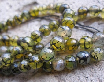 3 str -Gray Yellow Black Dragon Veins Agate 6mm Faceted Round Beads