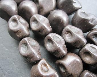 Black Howlite Skull beads 10x12x11mm- 34pcs/Strand
