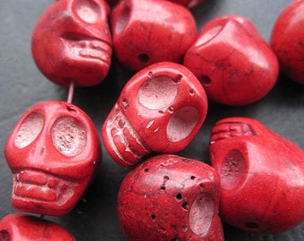 Dark Red Howlite Turquoise Skull beads 14x18x17mm- 22pcs/Strand