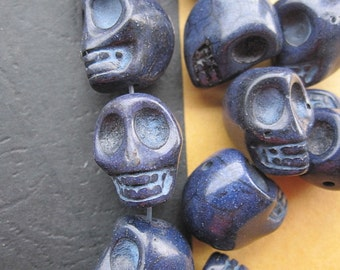 Dark Navy Howlite Skull beads 14x18x17mm- 22pcs/Strand