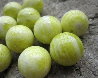 Natural Yellow Lemon Jade 14mm Round Ball Beads-- 28pcs/Strand