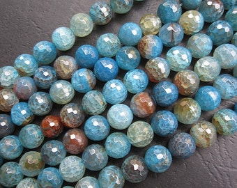 5 str -Blue Brown Agate 10mm Round Beads Faceted- 38pcs/Strand
