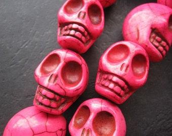 Large Hot Pink Fuschia Howlite Skull beads 17x22x21mm- 18pcs/Strand