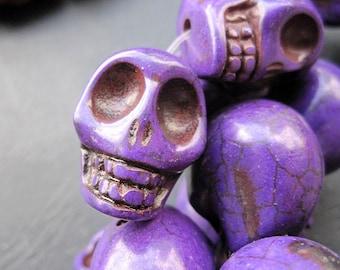 Large Purple Howlite Turquoise Skull Beads 17x22x21mm- 18pcs/Strand