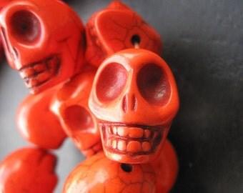 Large Fire Orange Howlite Turquoise Skull Beads 17x22x21mm -18pcs/Strand