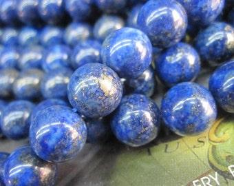 2 str -Blue Lapis Round Ball beads 8mm 10mm 12mm 14mm