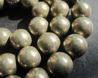 2 str -Fool's Gold Iron Pyrite 10mm Round Beads -40pcs/Strand