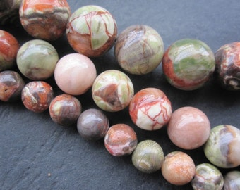 3 str - Red Green Kampapa Round Beads 6mm,8mm,10mm