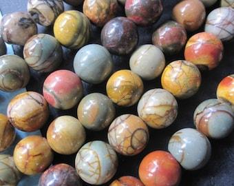 2 str -Colorful Picasso Jasper round ball beads 10mm -40pcs/Strand