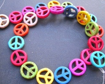 5 Str -Colorful Howlite Turquoise peace Sign Beads 16mm- 32pcs/Strand