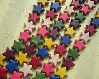 5 Str -Assorted Colorful Howlite Star Beads 16mm- 32pcs/Strand