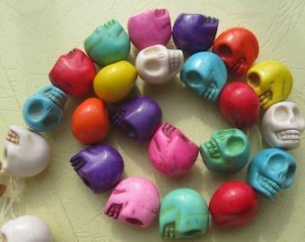 4 Str -Multi color Howlite Skull beads 14x17x18mm- 22pcs/Strand
