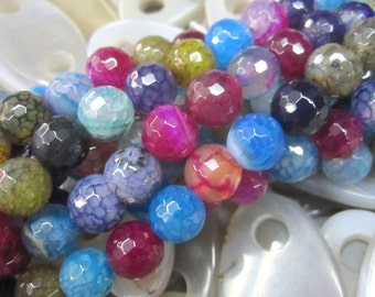 5 str -Assortment Colorful Agate 10mm Round Beads Faceted- 38pcs/Strand