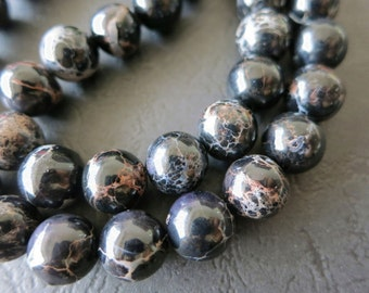 2 str- Black Sea Sediment Impression Jasper Round 10mm beads -39pcs/strand