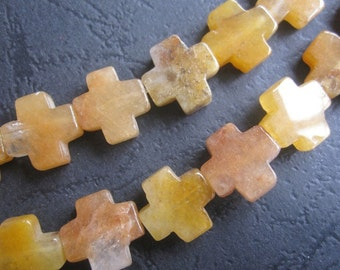 2 str -Yellow Jade 13x13mm Cross Beads -30pcs/Strand