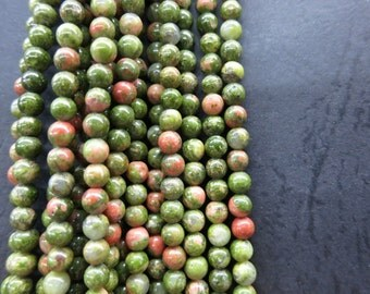 3 str -green Unakite Small 4mm round ball beads -98pcs/Strand