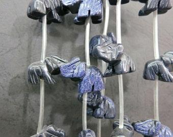 Navy Blue Sand Elephant Beads 10x12x20mm- 12pcs/Strand