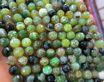 3 str -Lime Green Black Fire Agate Round Beads 8mm Faceted- 47pcs/Strand