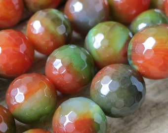 Green Red Fire Crab Agate 14mm Faceted Round Ball Loose Beads-- 27pcs Full Strand