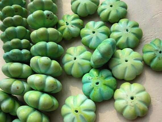 Howlite 20x8mm Flat Pumpkin Beads in Antique Vintage Yellow Green Color-- Promotion Sale--10pcs/lot