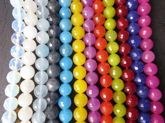 12str- Jade 10mm round beads FACETED in White Blue Red Fuchsia Yellow Green -40pcs/Strand