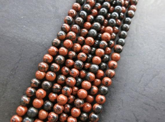 Brown Red Black Mahogany Obsidian round beads 4mm --98pcs/Strand